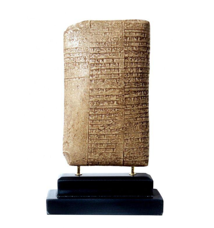 Tablilla de Recetario Médico. Medicina sumeria. Facsímil arqueológico, escritura antigua cuneiforme sumeria. Ideal para regalos originales y con historia.