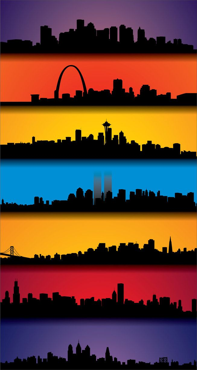 Skylines of Boston, St. Louis, Seattle, New York, San Francisco, Chicago, and Philadelphia...breathtakingly beautiful!