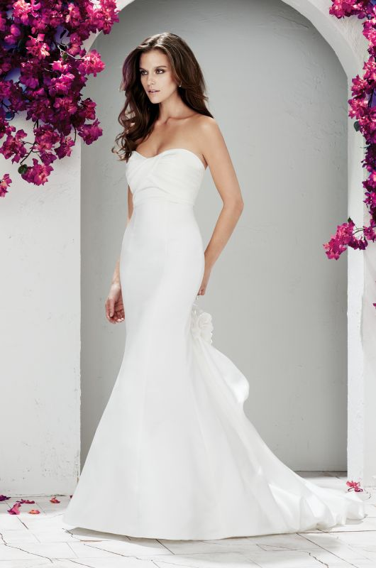 Satin dresses satin and spring collection on pinterest for Satin fit and flare wedding dress