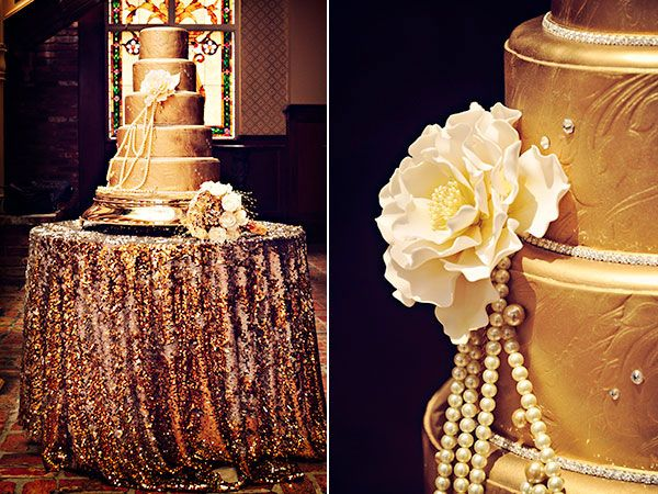 Feeling a little more daring? Cover your cake and cake table in gold.Cake by Party Flavors Custom Cakes/Photo Credit: Misty Miotto Photography