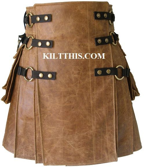 Brown Leather Utility Kilt Handmade Custom Fit Adjustable No Pockets Interchange Parts Heavy Duty Collect