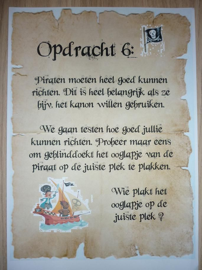 Draaiboek Piratenfeestje - Ik ga trakteren, Traktatie, Traktaties…
