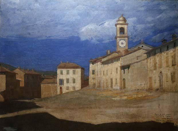 Pellizza da Volpedo, LA PIAZZA DI VOLPEDO, 1888), olio su tela, cm. 78x96, Milano, collezione privata