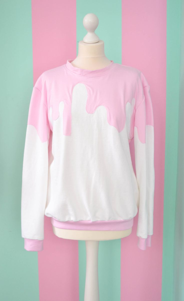 White fairy kei pullover with pink sauce ( adding sprinkles would be a nice touch )