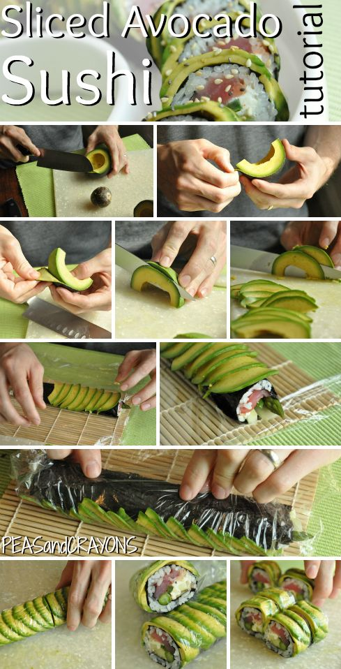 Flawless Avocado-Wrapped Sushi Tutorial - Sushi night is about to get kicked up a notch! Also, try using spreadable cream cheese on the nori. Duh!