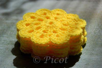 Picot - Szydełkowe Inspiracje: Żółte podkładki szydełkowe