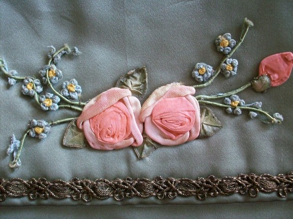 Antique silk french lingerie case  with beautiful ribbonwork