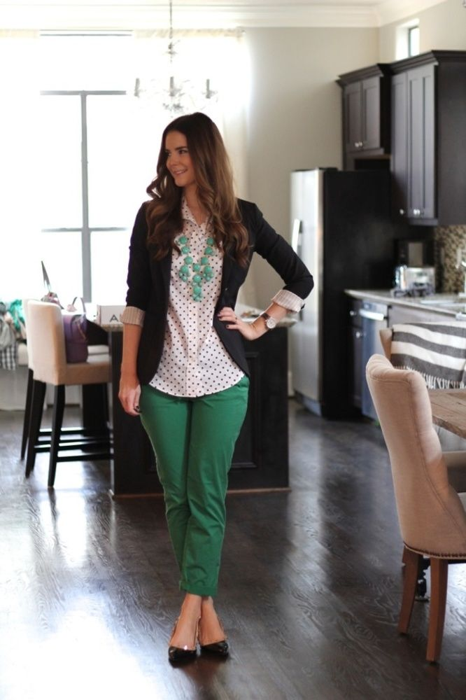 Green pants + polka dot button down + navy blazer + bubble necklace                                                                                                                                                      More