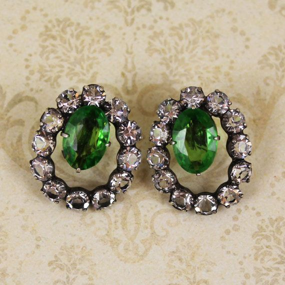 Vintage Sterling Silver Crystal and Green Rhinestone Hoop Screw Back Earrings