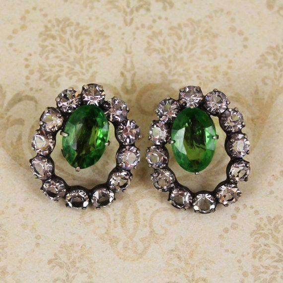 Vintage Sterling Silver Crystal and Green Rhinestone Hoop Screw Back Earrings