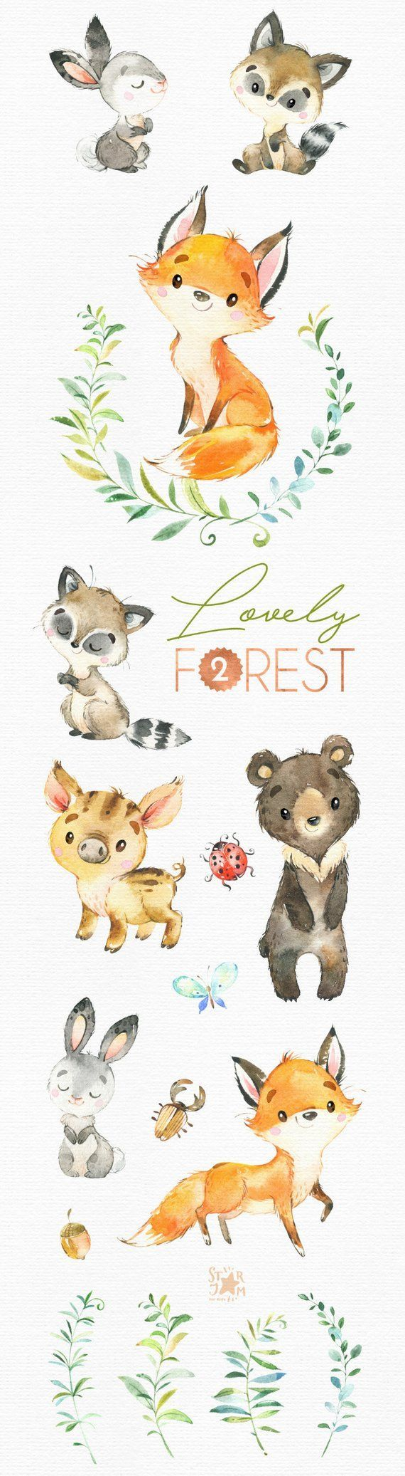 Beautiful Forest 2. Small Animals Clip Art, Watercolor, Fox, Boar, Bear, Rabbit, Raccoon, Flowers, Wreaths, Babyshower, Forest