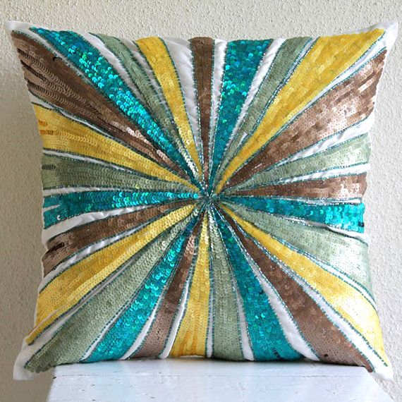 Multi Color Decorative Pillow Cover  Square  by TheHomeCentric