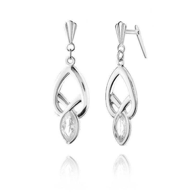 These earrings have Andralok fittings - No scrolls required. Just insert and flip the back down to secure in place. Lightweight drop earrings, featuring 6x3mm marquise Crystals, set in solid Sterling Silver. | eBay!