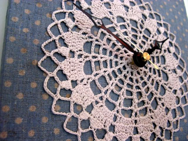 NameThatCandy.Etsy.com: DIY Doily Clock Tutorial.  http://namethatcandy.blogspot.com/2011/06/diy-doily-clock-tutorial.html