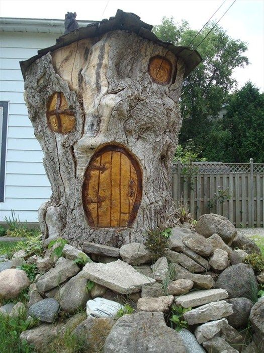 Gnome Garden: Tree Stump Fairy House Diy &SD61