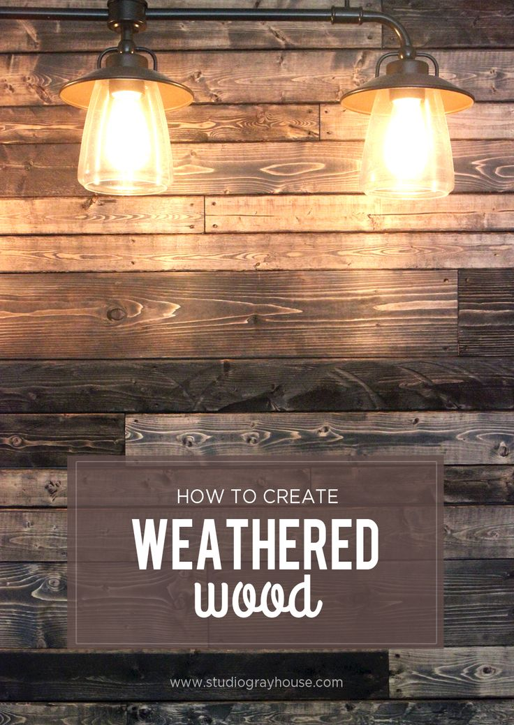 Above the bed lighting ;) How to create a weathered and used look on new wood for wood plank walls.
