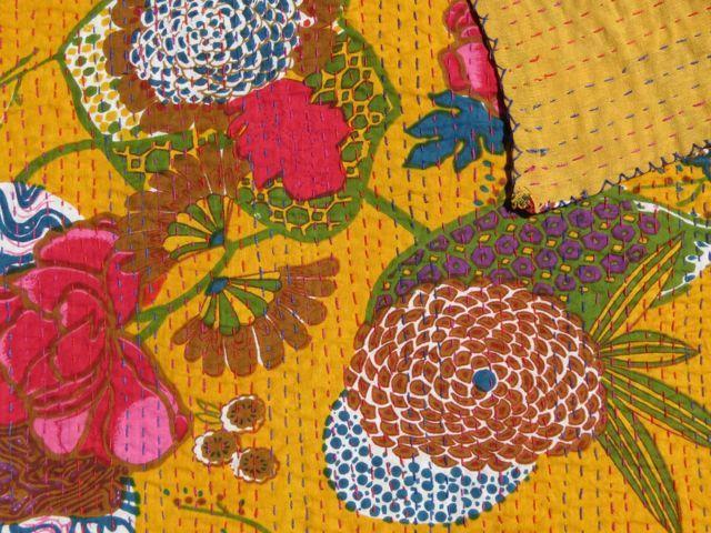 Tropical Kantha Quilt: Marigold
