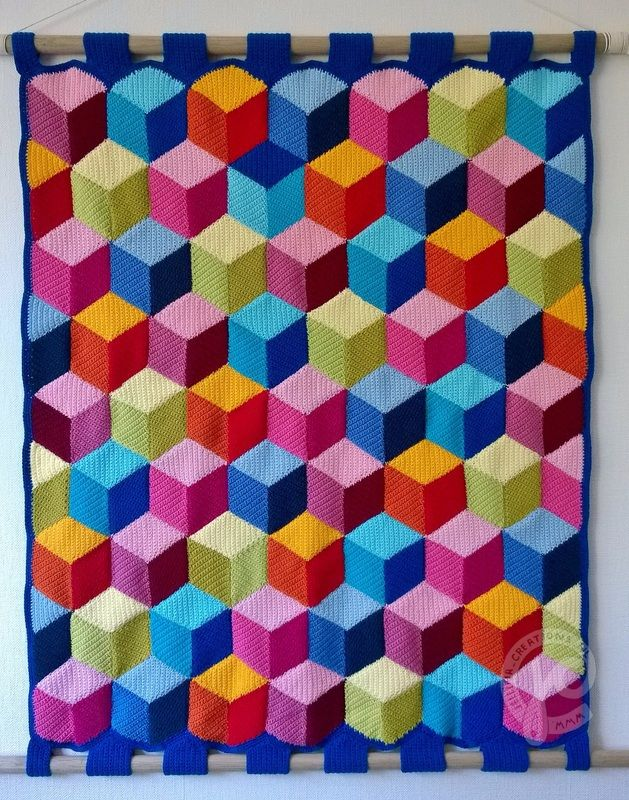 #haken, 3d deken, blokken, ruitpatroon, gratis patroon, pdf, #crochet, free pattern, 3d blocks, diamond, blanket, wall hanging, pdf