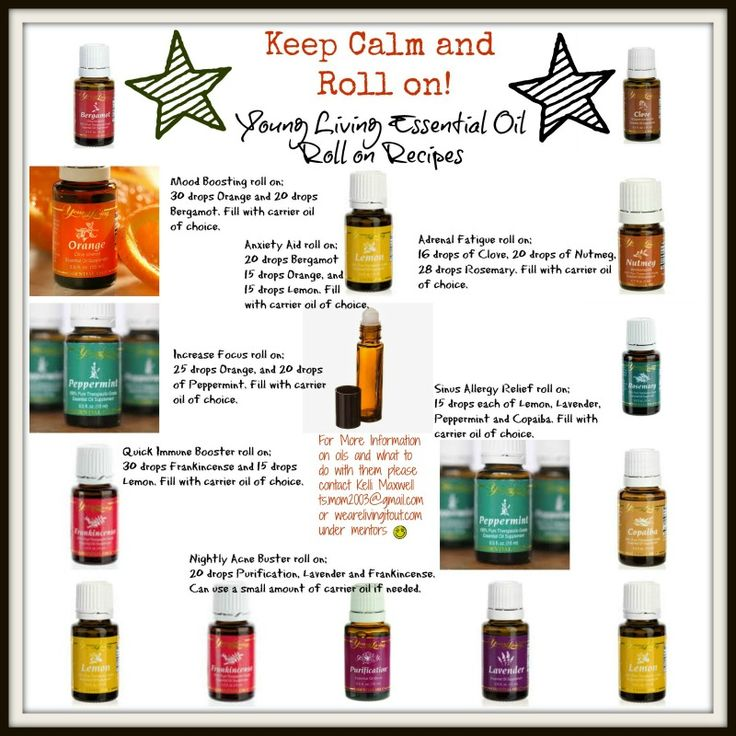 Young Living Oils roll on recipes