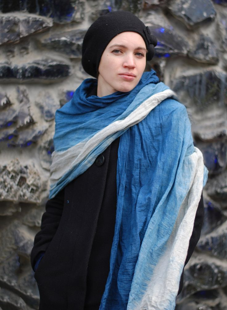 """Льняной палантин """"Скандинавия"""" серо-синий индиго двуцветный в магазине «Artinflat» на Ламбада-маркете"""