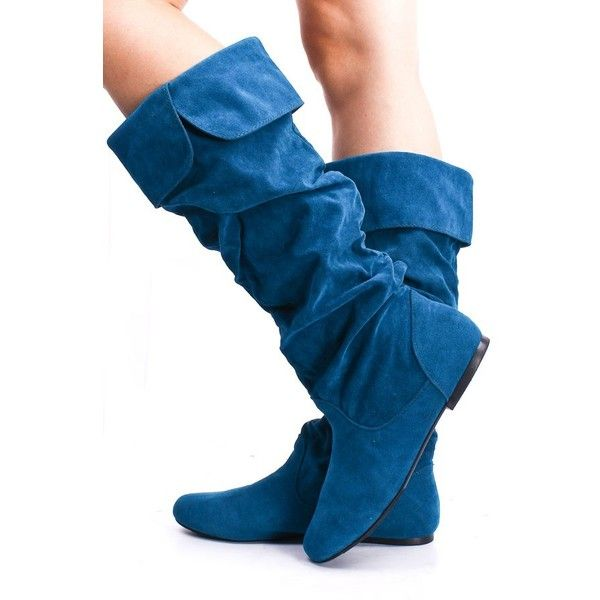 teal faux suede slouch mid calf collar flat boots ($21) ❤ liked on Polyvore featuring shoes, boots, blue, knee-high boots, slouchy knee high boots, summer boots, knee boots, faux suede knee high boots and knee high boots