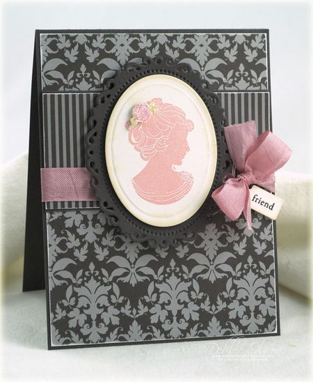 handmade card ... classic silhouette ... grays with pinkw and white ... lovely ... Papertrey Ink