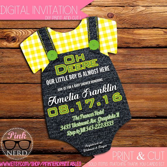 John Deere: Baby shower onesie invitation by PinkNerdPrintables