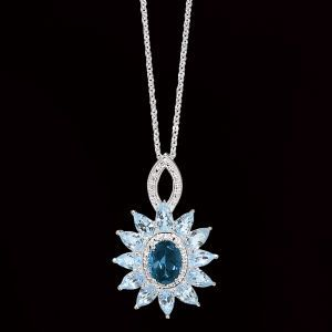 London and Sky Blue Topaz Sterling Pendant