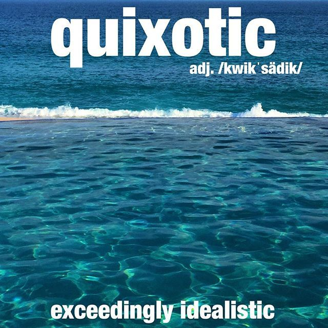 The quixotic fellow decided he would stay on vacation forever. #vacation #ocean #infinitypool #wordoftheday #dictionary