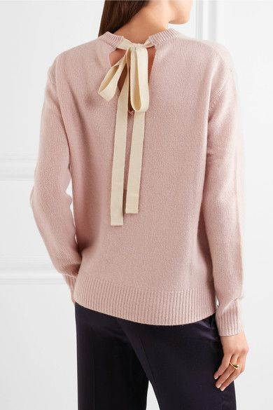 Blush cashmere, cream canvas Ties at back  100% cashmere  Hand wash  Designer color: Pearl