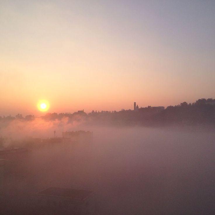 Alba nebbiosa su Monte Berico