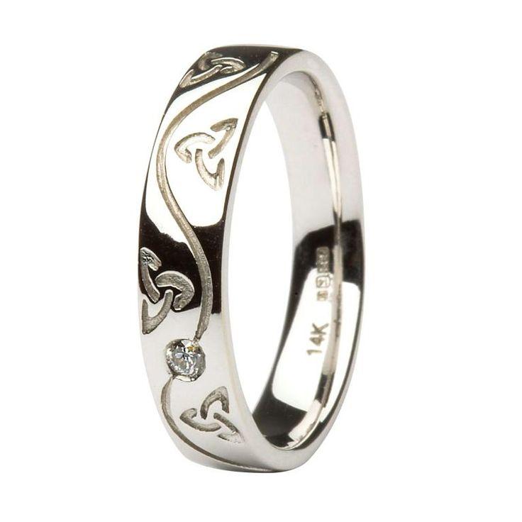 Ladies Celtic Recessed Pressure Set Diamond Wedding Ring
