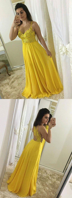 Yellow lace chiffon long prom dress, yellow evening dress,a-line prom dresses,floor length evening dresses