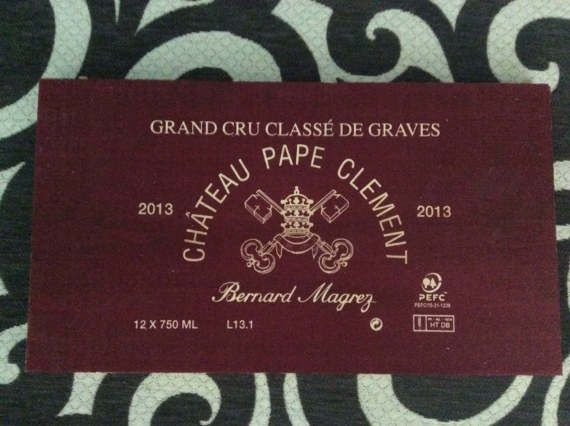 Free Shipping Chateau Pape Clement 2013 wooden wine crate