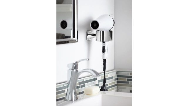The transitionally-styled Voss bath collection from Moen Incorporated includes faucets, accessories and showering products. Accessories in the line include pivoting paper holder, tank lever, double robe hook, towel ring, towel bars and hair dryer holder...