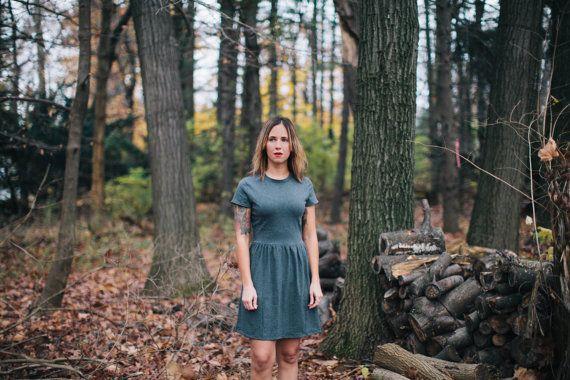 Tee Shirt Dress. Gray T-Shirt Staple Dress. Soft Jersey Knit Stretch Simple Short Sleeve Dress. LBD. Comfortable Dress in Gray or Black.