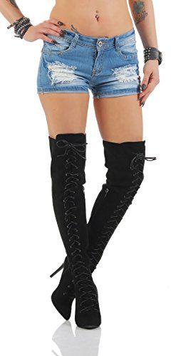 4397 Fashion4Young Knackige Damen Hotpants Denim Shorts kurze Hose Hot Pants Jeans (L=40, blau)