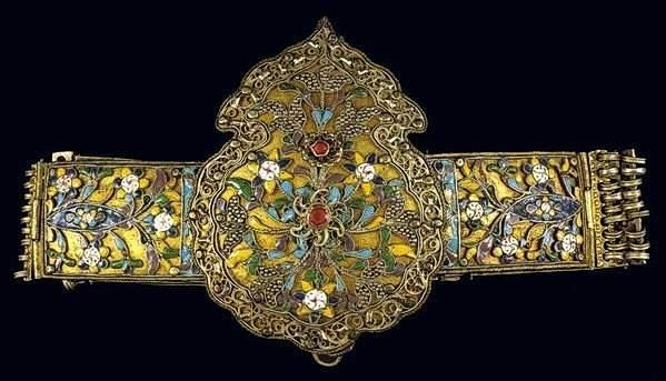 Tzamalas Traditional Costumes: silver belt from Thasos island, with floral ornaments of multicoloured cloisonné enamel, granulation and red glass stones. 18th-early 19th c. From the Benaki Museum, Greece.  Originally posted by Joost Daalder.