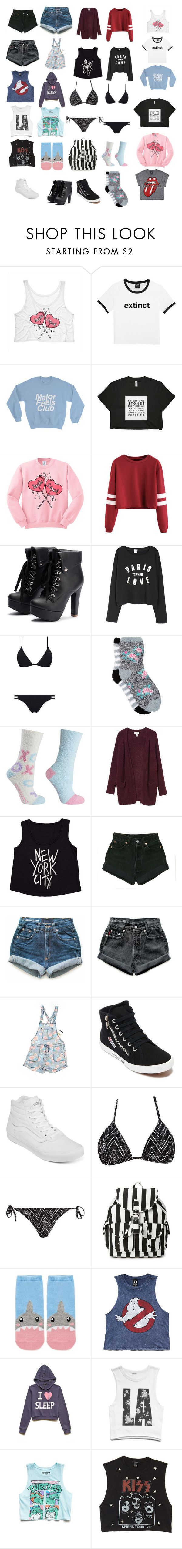"""Clothing Haul"" by lizyg1572 ❤ liked on Polyvore featuring Melissa Odabash, Free Press, MINX, Monki, Billabong, Levi's, American Rag Cie, Superga, Vans and Forever 21"