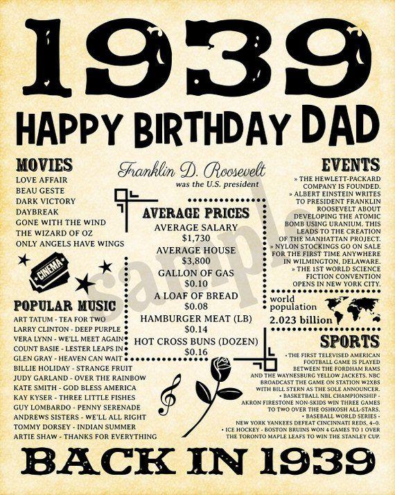 1939 Fun Facts 1939 80th Birthday Party Happy Birthday Dad Etsy