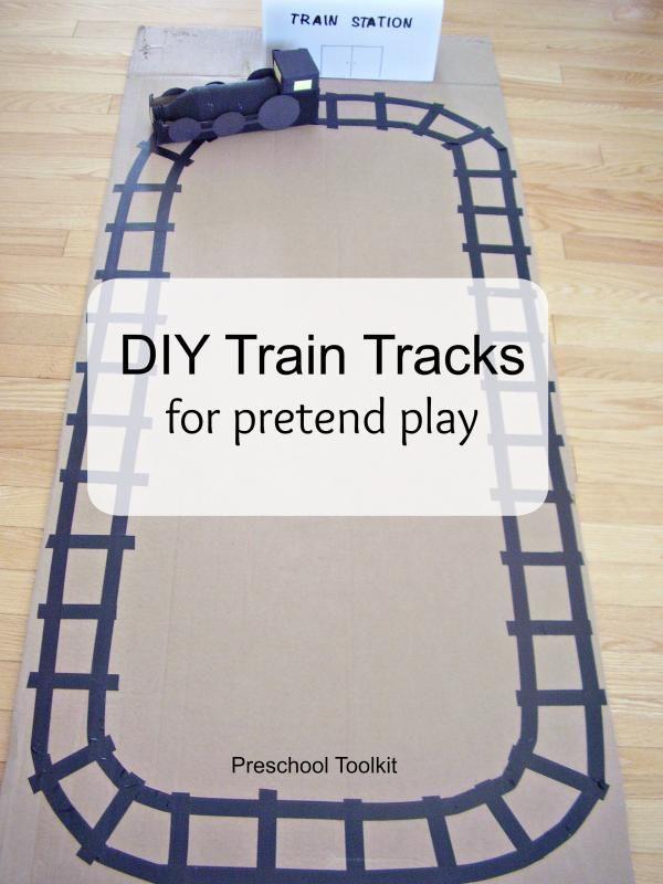 DIY train tracks for pretend play - Preschool Toolkit