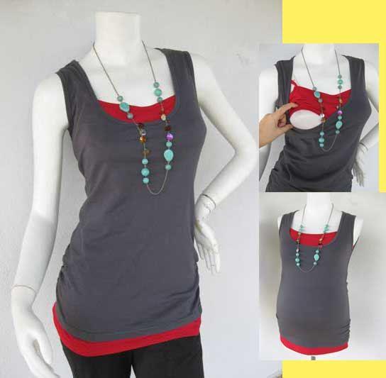 Maternity Clothes / Nursing Top / Breastfeeding Top / NEW GREY CLEO / Original Design / Nursing Tank with Built-inTankini / Nursing Clothes