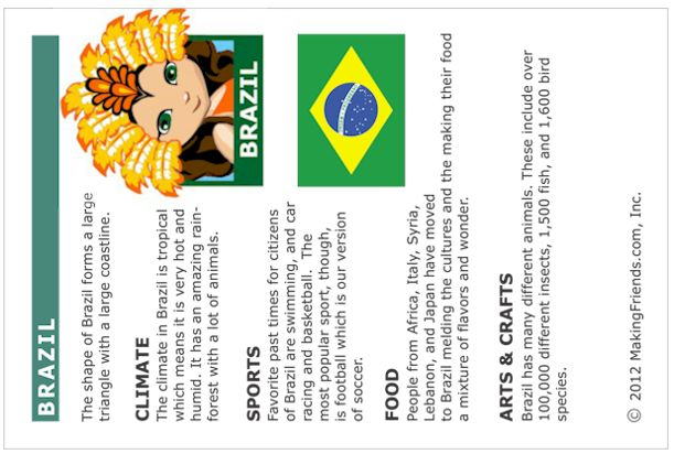 Brazil Fact Card. Free printable from MakingFriends.com for World thinking Day