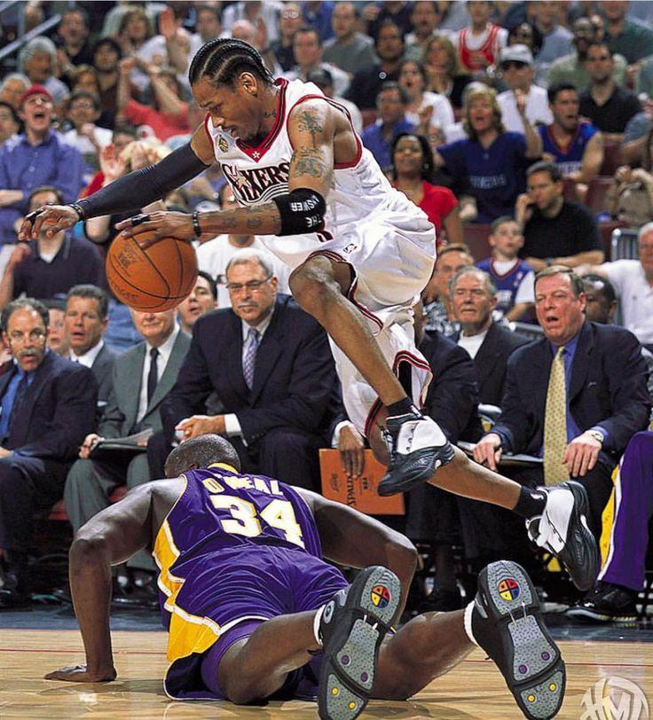 Allen Iverson saying excuse me big fella. Thanks for not falling on me. Shaq hustling! Stadium shook after that effort