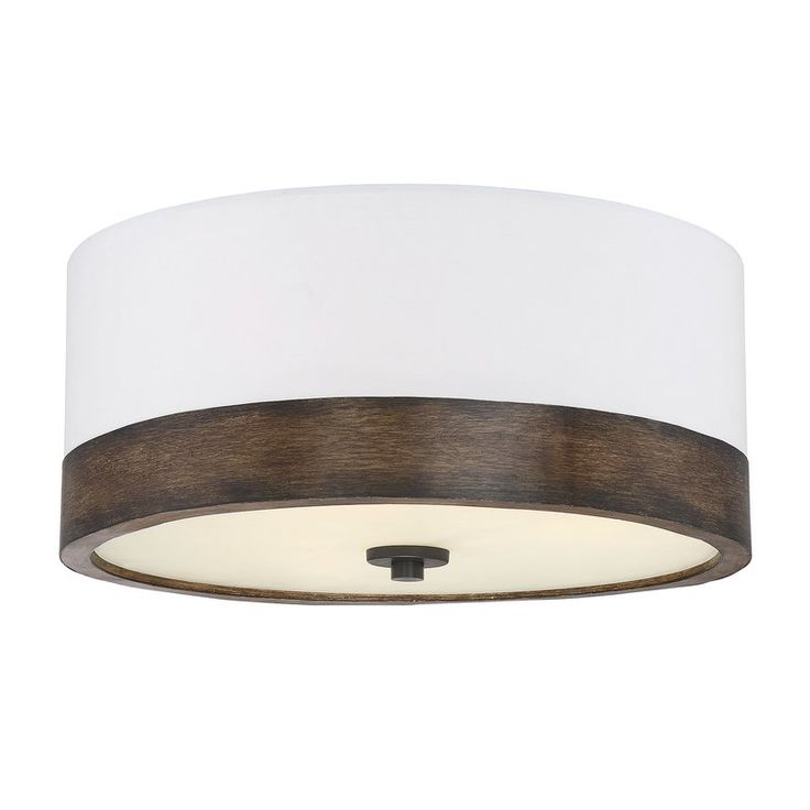 A simple natural wooden band wraps around the base of this flush light adding