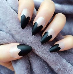 Heart Tips Black Matte Stiletto
