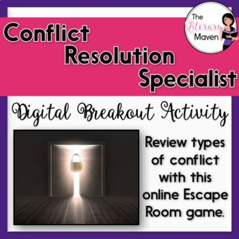 This digital breakout is intended for reinforcing types of conflict: internal and external, person versus self, person, society, nature, fate/God, the supernatural, and technology. In this Escape Room-like game, students will interact with a variety of text and media, including a Google Slides presentation with definitions and examples of the types of conflict, a video overview of the types of conflict, a Google Form quiz, and short films clips from The Wizard of Oz, Tangled, Mulan, and ...
