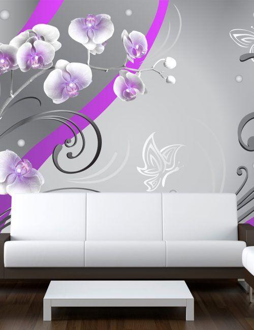 Carta da Parati Orchidee con Decorazioni Viola Carta da Parati Fotomurale a Tema Natura e Fiori
