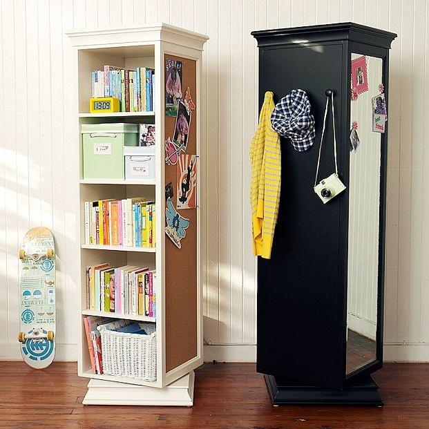 Swivel bookcase.