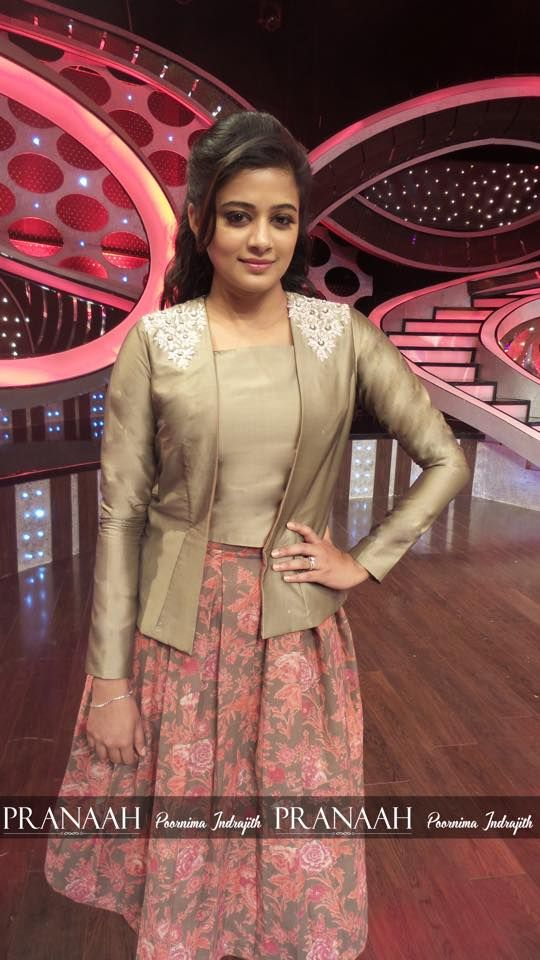 Priyamani in modern vintage floral skirt topped with beige top and blazer with lace details on gum on d2 costume by pranaah